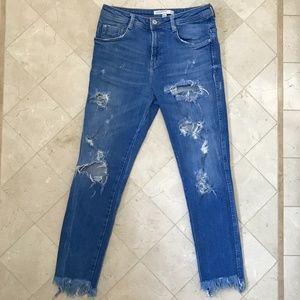 Zara Trafaluc Distress Frayed Hem Stretch Jeans